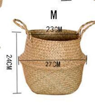 Load image into Gallery viewer, XL Woven Belly Basket / Fair-Trade Handwoven Wicker Storage Basket / Large Bohemian Made in Thailand Woven Basket Seagrass Belly - CalicoMarket