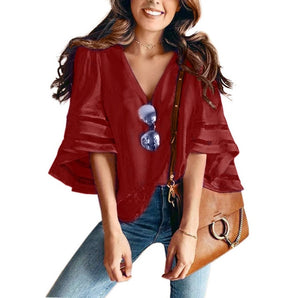 Casual Loose Mesh Blouse - CalicoMarket