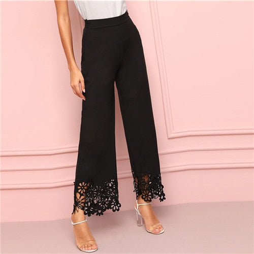Wide Leg Pants with Cut Out Flower Design - CalicoMarket