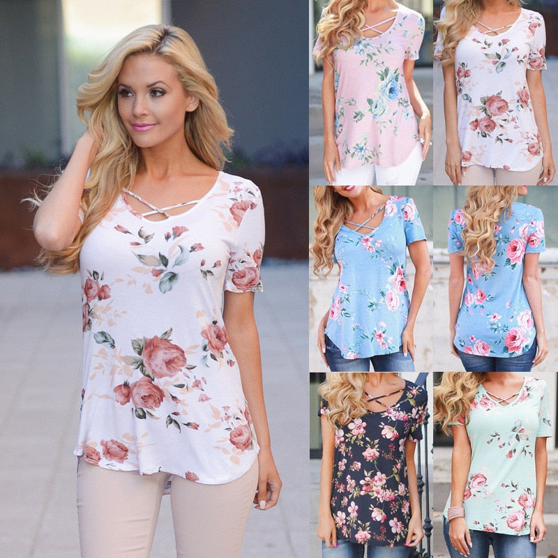Floral Print Short Sleeve Women T-Shirts 2019 Summer Casual Cross V-Neck Large Size Tops Tees Female Loose 5XL Plus Size T-Shirt - CalicoMarket