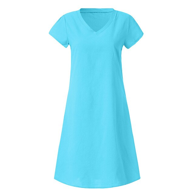 women's dresses large sizes Cotton and Linen summer casual beach V-Neck Casual Plus Size Ladies Dress Multi-color optional L0430 - CalicoMarket