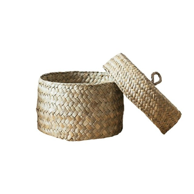 Seaweed Snack Storage Box Handmade Finishing Box With Lid - Woven Wardrobe Desktop Storage Basket Home Round Gift Box - CalicoMarket