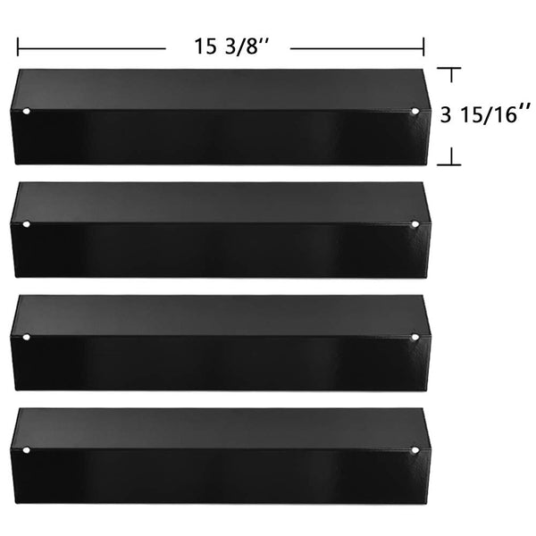 4-Pack 15 3/8 inch BBQ Gas Grill Porcelain Steel Heat Plates Flame Tamer for Brinkmann 810-3660-S, 810-2511-S, 810-2512-S Replacement Parts, Heat Tent Shields