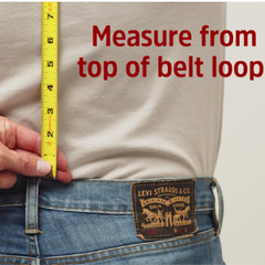 HIKERS button fly suspenders sizing guide - Measure from the top of the belt loop