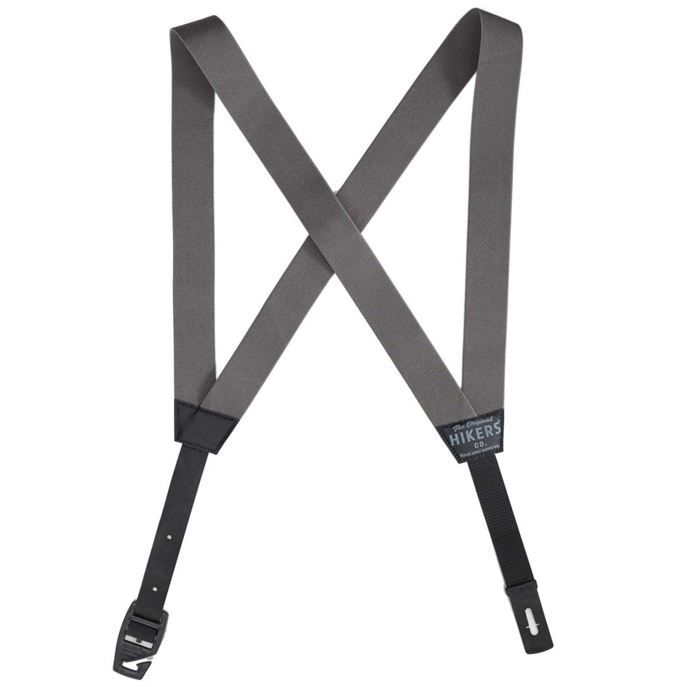 HIKERS® Button Fly Suspenders - Gray Black