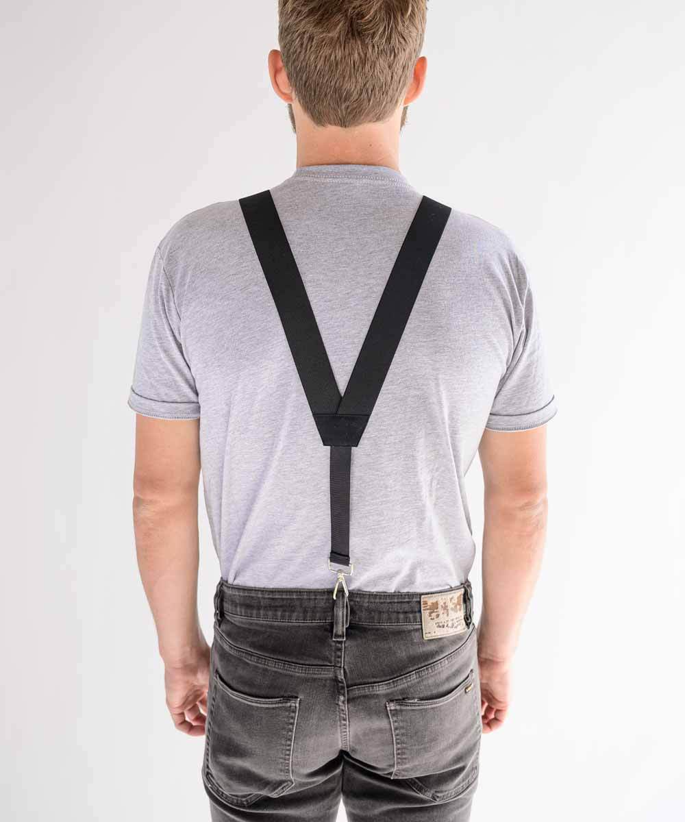HIKERS hidden suspenders over a tucked-in t-shirt from the back - shown here in Black