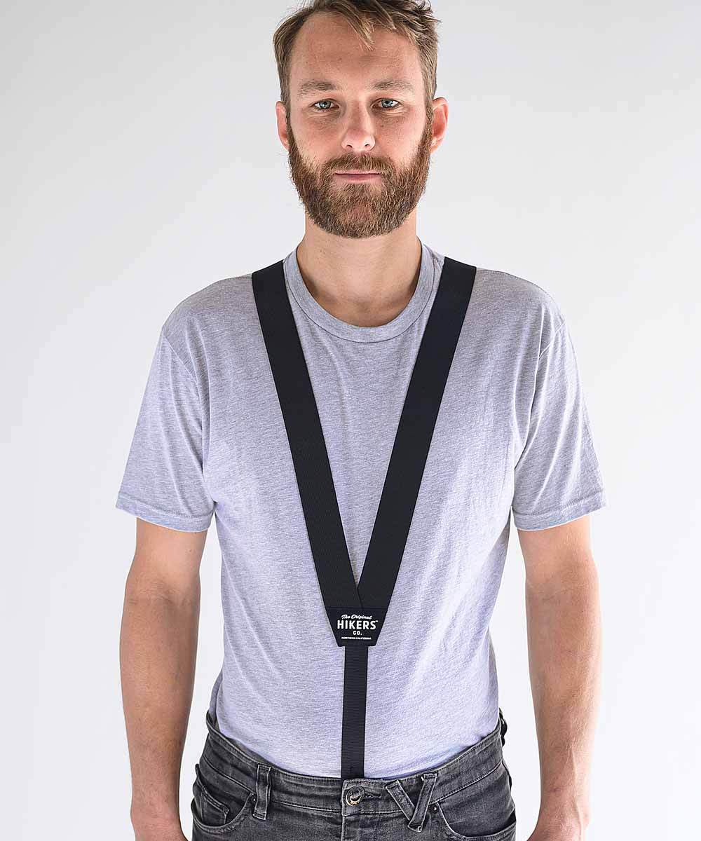 HIKERS hidden suspenders over a tucked-in t-shirt - shown here in Black