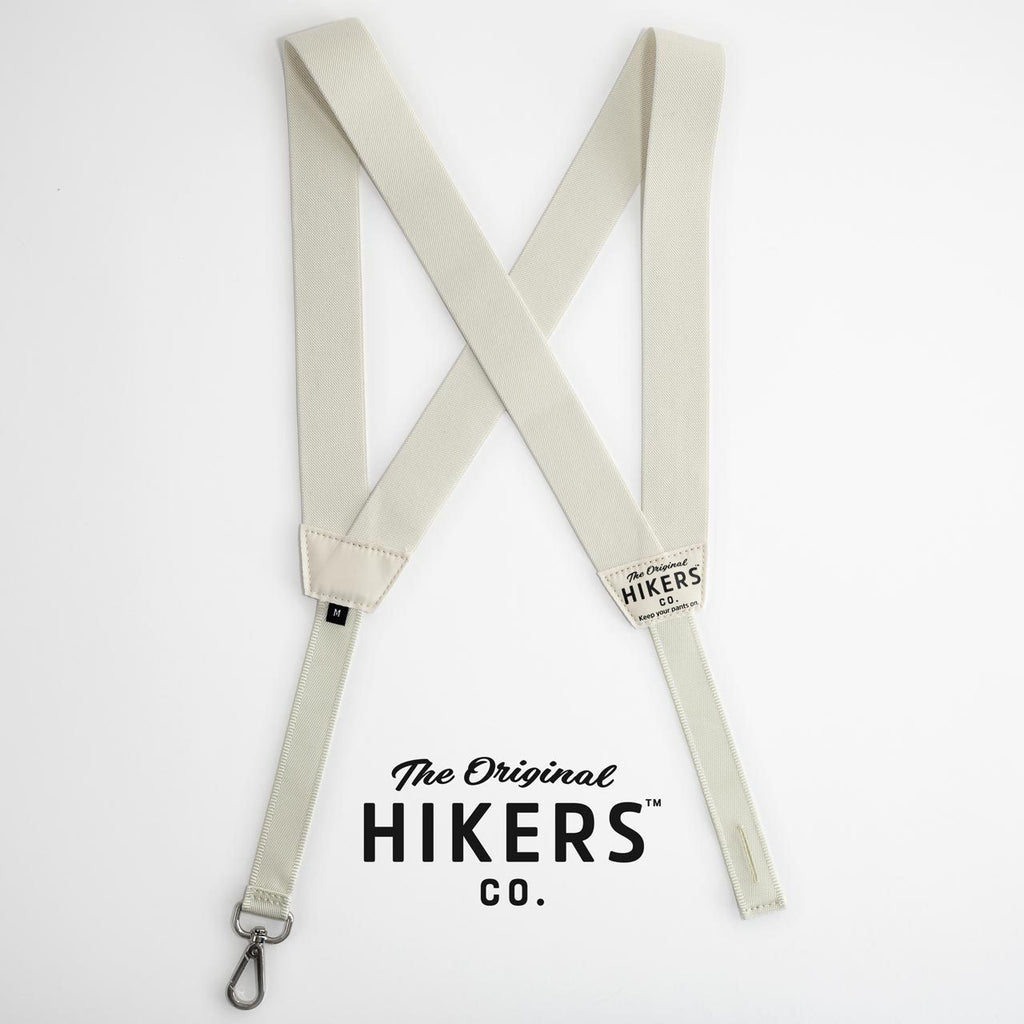 HIKERS suspenders for men and women in off white