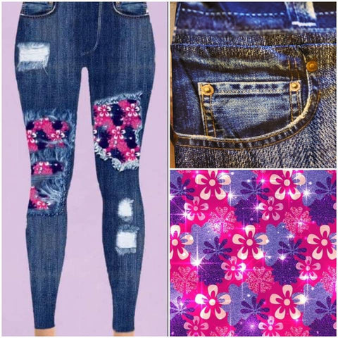 Custom Designed Leggings - Flowers - 1 IN STOCK