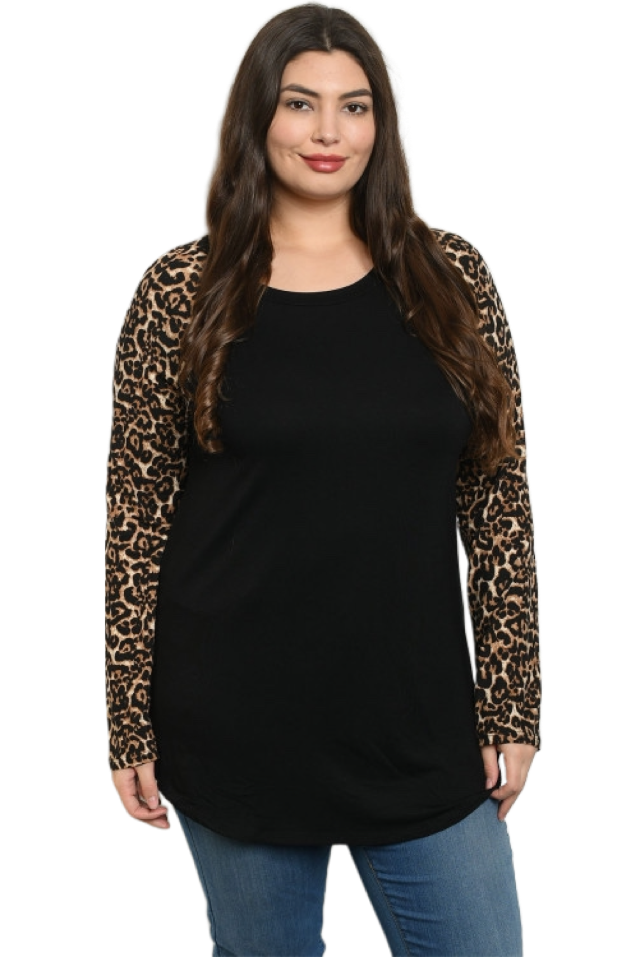 Plus Leopard Sleeve Top
