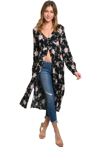 Long Sleeve Open Front Black Floral Top