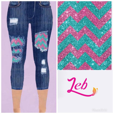 Custom Designed Capri Leggings - Chevron - 2 IN STOCK