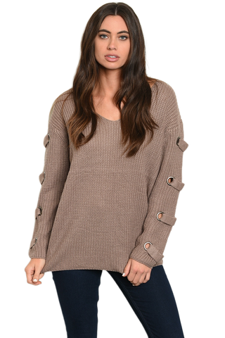 V-Neck Sweater w/Sleeve Detail