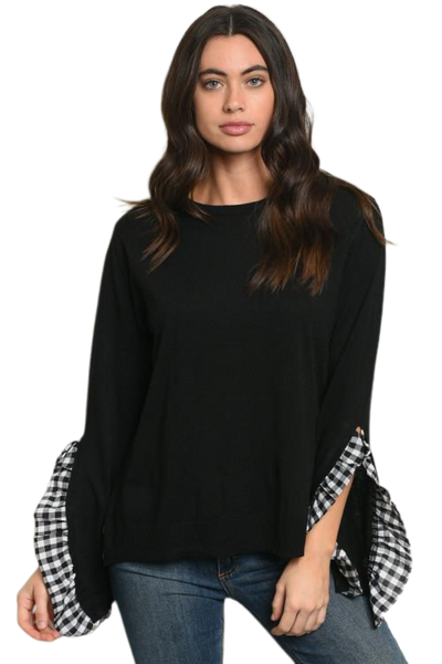 Black Bell Sleeve Gingham Checkered Ruffle Top