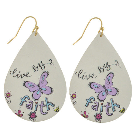 Live By Faith Teardrop Earrings
