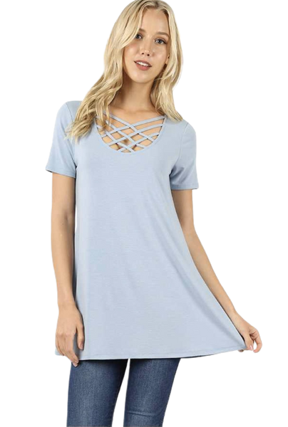 Short Sleeve Triple Lattice Top