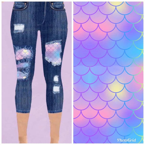 Custom Designed Capri Leggings - Mermaid Scales - 1 IN STOCK