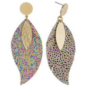 Faux Leather Animal Print Earrings