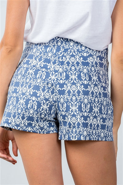 Blue Mix Printed Color Block Shorts - Beautifully You Boutique