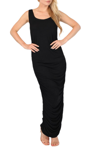 Ruched Black Maxi Dress