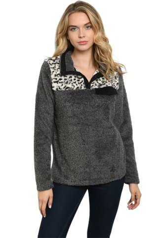 Sherpa Pullover w/Animal Print Accent