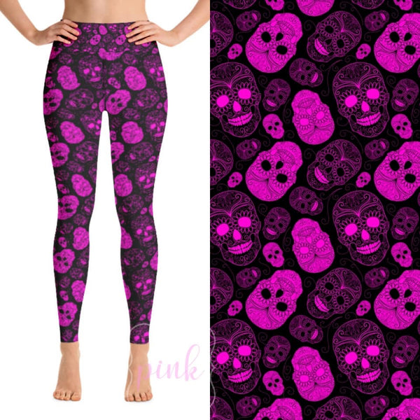 Custom Designed Leggings - Skull Candy - 2 IN STOCK