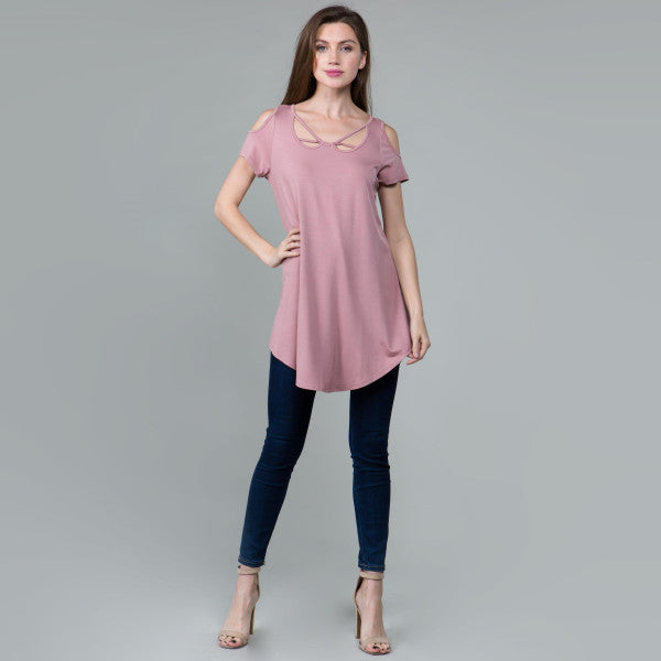 Cutout Front Cold Shoulder Tunic