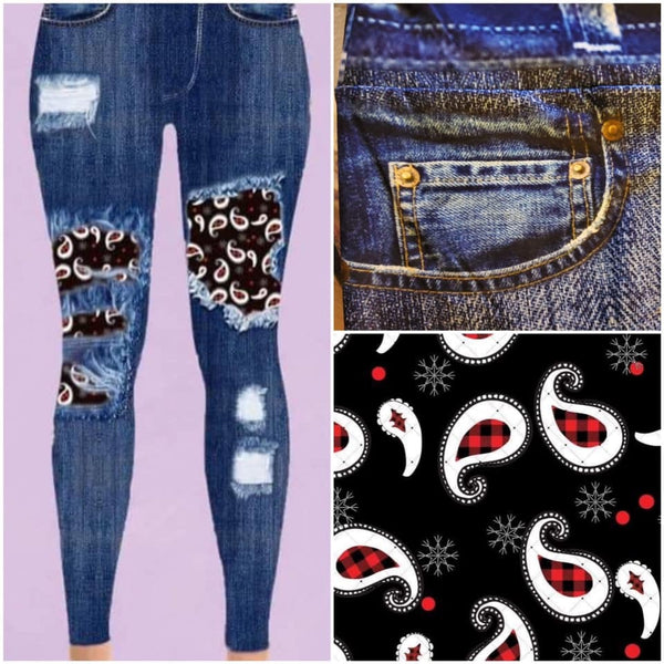 Custom Designed Leggings - Paisley - 1 IN STOCK