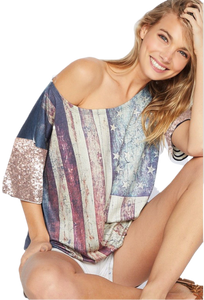 American Flag Sublimation Top w/Sequin Sleeve