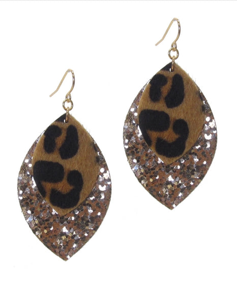 Animal Print & Glitter Earrings
