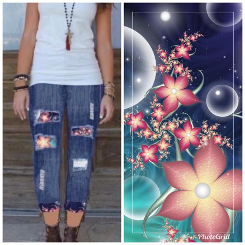 Custom Designed Capri Leggings - Pretty Flowers - 1 IN STOCK