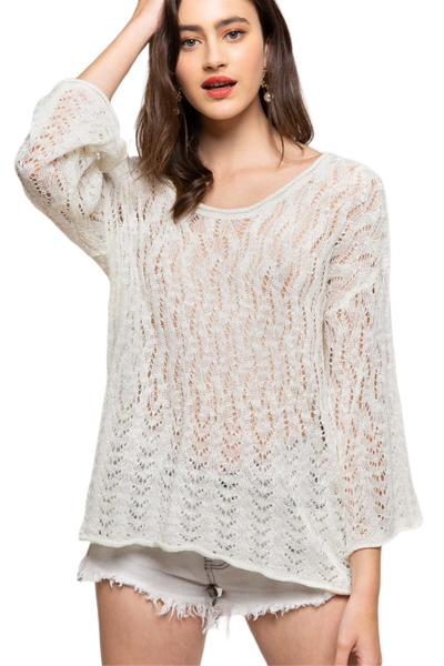 Open Weave Pullover Sweater