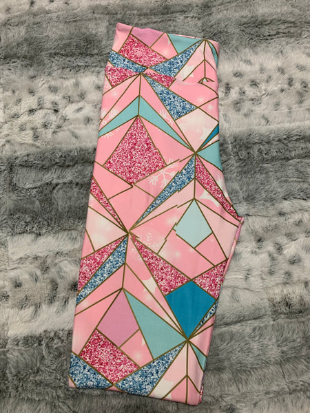 Custom Designed Leggings - Pink Mosaic - 1 IN STOCK