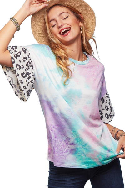 Tie Dye Animal Sleeve Top