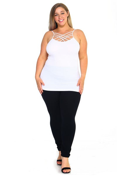 Plus Size Triple Lattice Criss Cross Front Cami