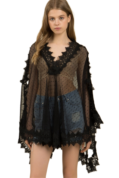 Sheer Lace Poncho/Cover Up