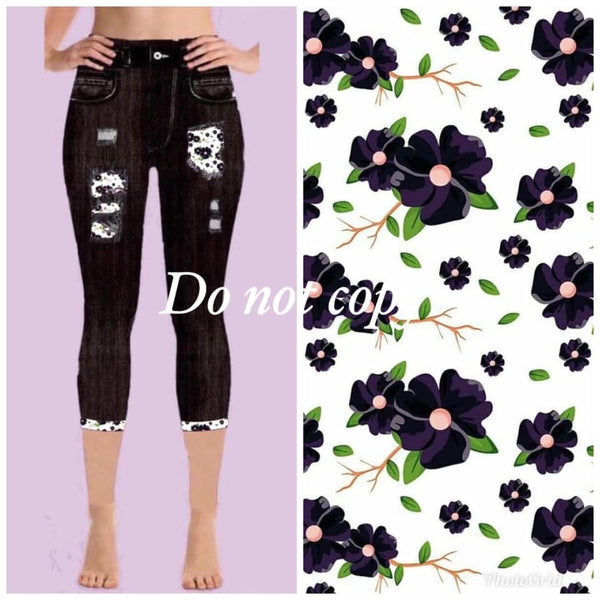 Pre-Order Custom Designed Capri Leggings - Elegant Flower