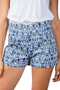 Blue Mix Printed Color Block Shorts