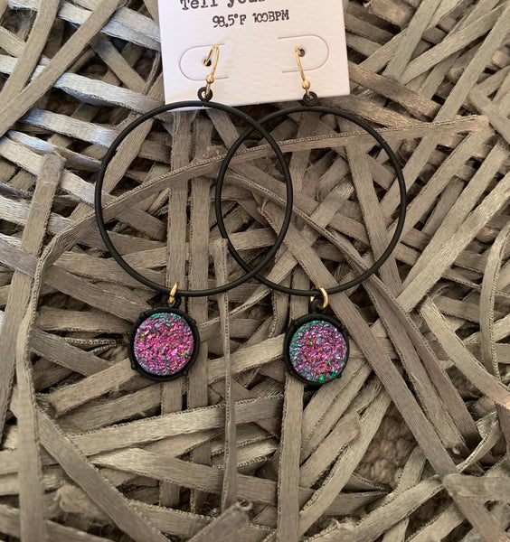 Black Circle Earrings w/Druzy Accent