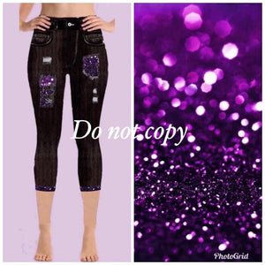 Pre-Order Custom Designed Capri Leggings - Purple Glitter Ombre