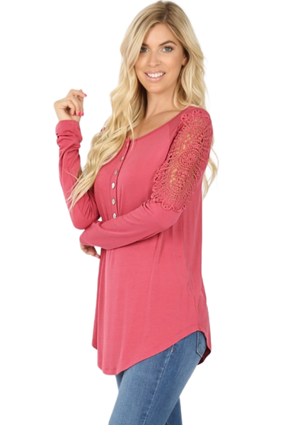 Lace Shoulder Trim Long Sleeve Top