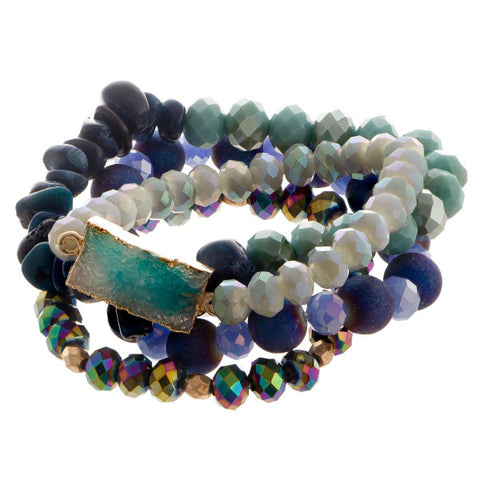 Beaded Bracelet Set w/Faux Druzy