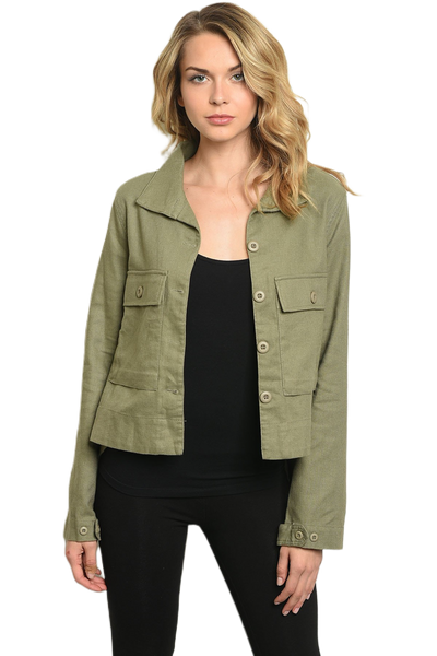 Olive Pleated Back Jacket