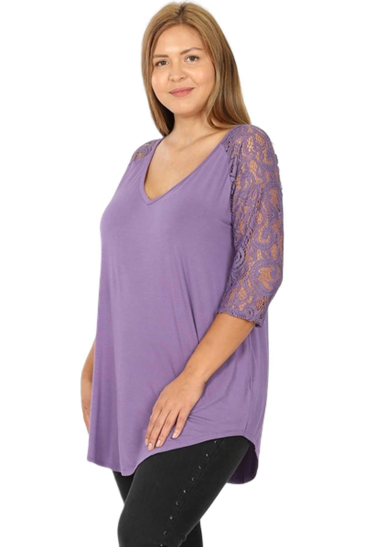 3/4 Lace Sleeve V-Neck Top