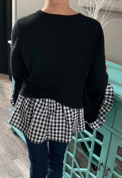 Black Bell Sleeve Gingham Checkered Ruffle Top - Beautifully You Boutique