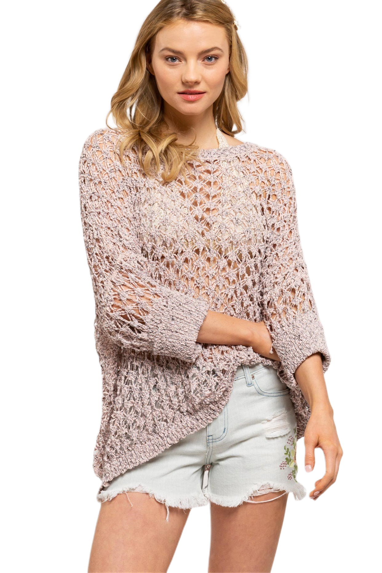 Dolman Sleeve Breezy Knit 2 Tone Sweater