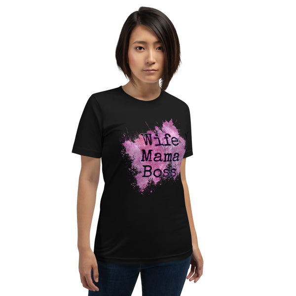 """Wife Mama Boss"" Graphic T-Shirt Black or White"