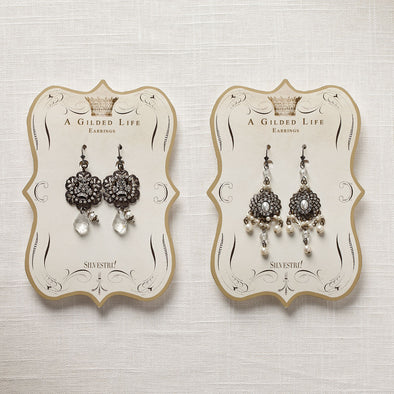 Rhinestone and Crown Earrings
