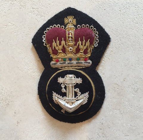 Anchor and crown patch. Black cotton velvet background, heavily embroidered with gold and silver buillon thread.