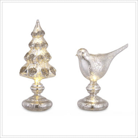 Lit Mercury Glass Finials